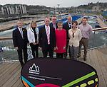 Gemau Cymru Launch 2014<br /> <br /> L-R Jon Morgan Disability Sport Wales, Rhian Gibson Welsh Gymnastics. John Griffiths AM Minister for Sport & Culture. Matt Newman, Welsh Athletics. Efa Gruffudd Jones, Urdd. Nigel Midgely, Canoe Wales. Laura McAllister, Sport Wales & Chris Ower, WRU. <br /> 31.03.14<br /> <br /> ©Steve Pope-SPORTINGWALES