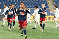 FOXBOROUGH, MA - OCTOBER 09: Nicolas Firmino #29 of New England Revolution II celebrates his goal against Fort Lauderdale CF during a game between Fort Lauderdale CF and New England Revolution II at Gillette Stadium on October 09, 2020 in Foxborough, Massachusetts.
