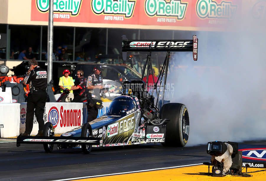 Jul. 25, 2014; Sonoma, CA, USA; NHRA top fuel driver Brittany Force during qualifying for the Sonoma Nationals at Sonoma Raceway. Mandatory Credit: Mark J. Rebilas-