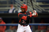 Batavia Muckdogs left fielder Terry Bennett (33) at bat during a game against the Auburn Doubledays on September 6, 2017 at Dwyer Stadium in Batavia, New York.  Auburn defeated Batavia 6-3.  (Mike Janes/Four Seam Images)