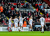 Hull City congratulate Hull City's midfielder Kamil Grosicki (7) after going 1-0 upduring the Sky Bet Championship match between Sheff United and Hull City at Bramall Lane, Sheffield, England on 4 November 2017. Photo by Stephen Buckley / PRiME Media Images.