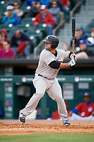 Scranton/Wilkes-Barre RailRiders first baseman Mike Ford (25) at bat during a game against the Buffalo Bisons on May 18, 2018 at Coca-Cola Field in Buffalo, New York.  Buffalo defeated Scranton 5-1.  (Mike Janes/Four Seam Images)