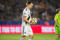 CARSON, CA - SEPTEMBER 15: Zlatan Ibrahimovic #9 of the Los Angeles Galaxy prepares for a penalty kick during a game between Sporting Kansas City and Los Angeles Galaxy at Dignity Health Sports Park on September 15, 2019 in Carson, California.
