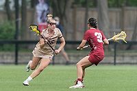 NEWTON, MA - MAY 16: Cara Urbank #26 of Boston College brings the ball forward during NCAA Division I Women's Lacrosse Tournament second round game between Temple University and Boston College at Newton Campus Lacrosse Field on May 16, 2021 in Newton, Massachusetts.