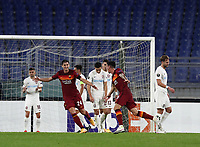 Football Soccer: UEFA Europa League UEFA Europa League Group A  AS Roma vs FCR Cluj, Olympic stadium, Rome, 5 November, 2020.<br /> Roma's Roger Ibanez (r) celebrates after scoring with his teammate Marash Kumbulla (l) during the Europa League football match between Roma and Cluj at the Olympic stadium in Rome on  5 November, 2020.<br /> UPDATE IMAGES PRESS/Isabella Bonotto