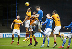 Motherwell v St Johnstone…20.02.21   Fir Park   SPFL<br />Jason Kerr heads over the bar<br />Picture by Graeme Hart.<br />Copyright Perthshire Picture Agency<br />Tel: 01738 623350  Mobile: 07990 594431
