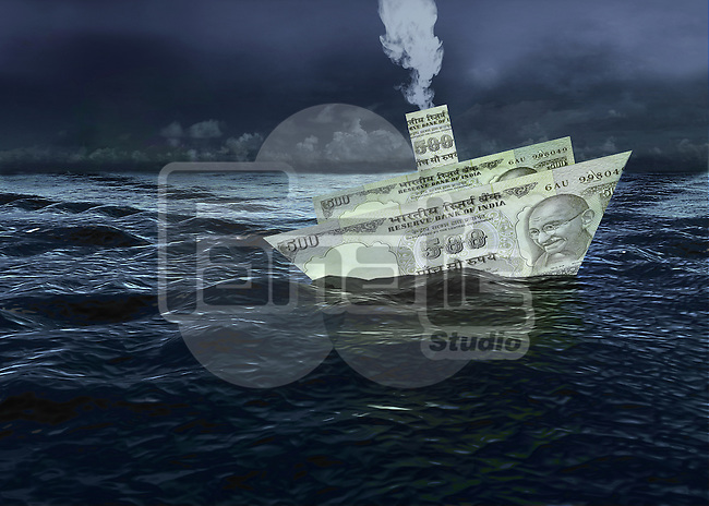Indian currency note sailing in financial ocean