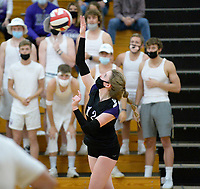 Waunakee's Mariah Best serves in front of fans, as DeForest tops Waunakee 3 sets to 1 in Wisconsin WIAA girls high school volleyball regional finals on Saturday, Apr. 10, 2021 at DeForest High School