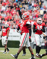 The Georgia Bulldogs beat the App State Mountaineers 45-6 in their homecoming game.  After a close first half, UGA scored 31 unanswered points in the second half.  Georgia Bulldogs defensive end Ray Drew (47) celebrates his sack