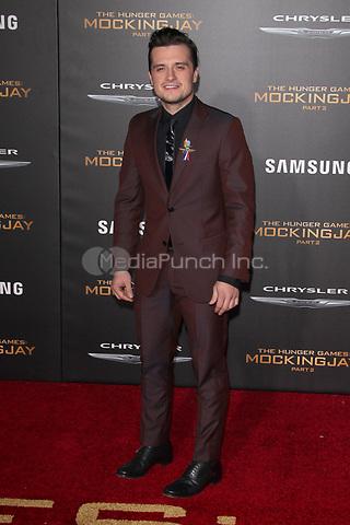 "LOS ANGELES, CA - NOVEMBER 16: Josh Hutcherson at the Premiere Of ""The Hunger Games: Mockingjay - Part 2"" At Microsoft Theater On November 16, 2015. Credit: mpi21/MediaPunch"