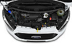 Car Stock 2021 Ford Transit-Custom Trend 4 Door Cargo Van Engine  high angle detail view
