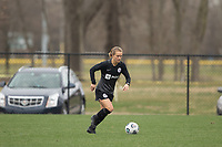 LOUISVILLE, KY - MARCH 13: Lauren Milliet #2 of Racing Louisville FC runs up field during warmups before a game between West Virginia University and Racing Louisville FC at Thurman Hutchins Park on March 13, 2021 in Louisville, Kentucky.