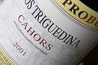 Detail of label with the words Clos Triguedina Prince Probus Cahors Lot Valley France
