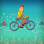 Three businessmen riding bicycles over the clouds