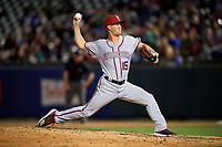 Syracuse Chiefs relief pitcher Trevor Gott (15) delivers a pitch during a game against the Buffalo Bisons on July 6, 2018 at Coca-Cola Field in Buffalo, New York.  Buffalo defeated Syracuse 6-4.  (Mike Janes/Four Seam Images)