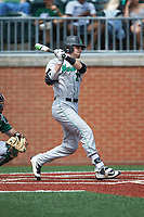 Sam Finfer (27) of the Marshall Thundering Herd follows through on his swing against the Charlotte 49ers at Hayes Stadium on April 23, 2016 in Charlotte, North Carolina. The Thundering Herd defeated the 49ers 10-5.  (Brian Westerholt/Four Seam Images)