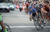 maglia azzurra Giovanni Visconti (ITA/Movistar) in the local finishing laps around Milano<br /> <br /> Giro d'Italia 2015<br /> final stage 21: Torino - Milano (178km)