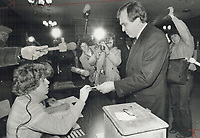 Here's hoping: NDP Leader Ed Broadbent was out bright and early this morning to cast his vote in his home riding of Oshawa. Along with him were his mother, Mary, 68, and aide Peter O'Malley. Broadbent yesterday predicted the NDP would win more than the record 31 seats it had after 1972 election.