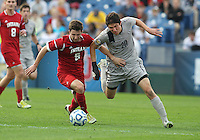 HOOVER, AL - DECEMBER 09, 2012: Matt McKain (5) of Indiana University challenges Andy Riemer (20) of Georgetown University for the ball during the NCAA 2012 Men's College Cup championship, at Regions Park, in Hoover , AL, on Sunday, December 09, 2012.