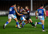 13th February 2021; Twickenham Stoop, London, England; English Premiership Rugby, Harlequins versus Leicester Tigers; Kini Murimurivalu of Leicester Tigers held up by Marler of Harlequins