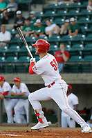 Greeneville Reds outfielder Justin Bellinger (50) at bat during a game against the Bristol Pirates at Pioneer Field on June 20, 2018 in Greeneville, Tennessee. Bristol defeated Greeneville 11-0. (Robert Gurganus/Four Seam Images)