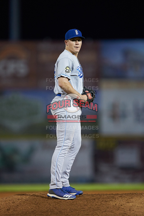 Burlington Royals relief pitcher Elliott Anderson (28) looks to his catcher for the sign against the Pulaski Yankees at Calfee Park on September 1, 2019 in Pulaski, Virginia. The Royals defeated the Yankees 5-4 in 17 innings. (Brian Westerholt/Four Seam Images)