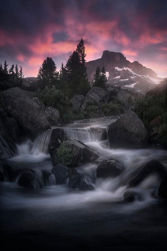 Electric sunrise in the Eastern Sierras. Thousand Island Lake, CA