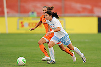 Karen Carney (14) of the Chicago Red Stars is marked by Keeley Dowling (17) of Sky Blue FC. The Chicago Red Stars defeated Sky Blue FC 2-1 during a Women's Professional Soccer (WPS) match at Yurcak Field in Piscataway, NJ, on August 01, 2010.