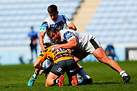 25th April 2021; Ricoh Arena, Coventry, West Midlands, England; English Premiership Rugby, Wasps versus Bath Rugby; Jacob Umaga of Wasps is tackled by Juan Schoeman of Bath Rugby