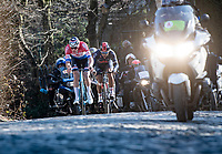 Mathieu Van der Poel (NED/Alpecin-Fenix) & Jhonatan Narváez (ECU/INEOS Grenadiers) being impressive on the Kruisberg cobbles<br /> <br /> 73rd Kuurne - Brussels - Kuurne 2021<br /> ME (1.Pro)<br /> 1 day race from Kuurne to Kuurne (BEL/197km)<br /> <br /> ©kramon