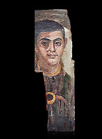 Egyptian Roman mummy portrait or Fayum mummy portrait painted panel of a man, Roman Period, 1st to 3rd cent AD, Egypt. Egyptian Museum, Turin. Black background,<br /> <br /> Mummy portraits or Fayum mummy portraits (also Faiyum mummy portraits) are a type of naturalistic painted portrait on wooden boards attached to Upper class mummies from Roman Egypt. They belong to the tradition of panel painting, one of the most highly regarded forms of art in the Classical world. he portraits covered the faces of bodies that were mummified for burial. Extant examples indicate that they were mounted into the bands of cloth that were used to wrap the bodies.