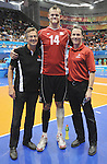 November 18 2011 - Guadalajara, Mexico:  Henry Storgaard (CPC CEO) and David Legg (CPC President)with Greg Stewart after Team Canada defeated Team Columbia in the Bronze Medal Game in the Pan American Volleyball Complex at the 2011 Parapan American Games in Guadalajara, Mexico.  Photos: Matthew Murnaghan/Canadian Paralympic Committee