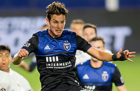 CARSON, CA - OCTOBER 14: Carlos Fierro #21 of the San Jose Earthquakes ready's himself for a cross ball the ball during a game between San Jose Earthquakes and Los Angeles Galaxy at Dignity Heath Sports Park on October 14, 2020 in Carson, California.