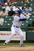 Round Rock Express outfielder Jim Aducci #24 at bat against the New Orleans Zephyrs in the Pacific Coast League baseball game on April 21, 2013 at the Dell Diamond in Round Rock, Texas. Round Rock defeated New Orleans 7-1. (Andrew Woolley/Four Seam Images).
