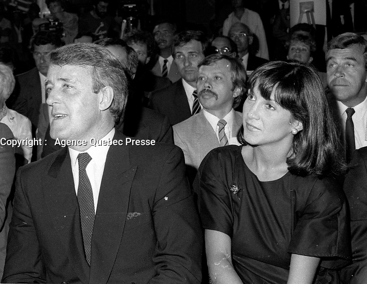 Dorval (Qc) CANADA - July 15, 1984 File Photo-<br /> <br /> Brian Mulroney  leader of  Progressive-Conservative  Party and wife MIla  at the presentation of Montreal's PC Candidates in the 1984 federal election.