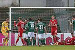 22.11.2020, Dietmar-Scholze-Stadion an der Lohmuehle, Luebeck, GER, 3. Liga, VfB Luebeck vs FC Bayern Muenchen II <br /> <br /> im Bild / picture shows <br /> Torwart Lukas Raeder (VfB Luebeck) jubelt nach einer erfolgreichen Parade, Fiete Arp (FC Bayern Muenchen II) ist fassungslos<br /> <br /> DFB REGULATIONS PROHIBIT ANY USE OF PHOTOGRAPHS AS IMAGE SEQUENCES AND/OR QUASI-VIDEO.<br /> <br /> Foto © nordphoto / Tauchnitz