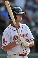 Designated hitter Tyler Spoon (15) of the Greenville Drive in a game against the Lakewood BlueClaws on Sunday, June 26, 2016, at Fluor Field at the West End in Greenville, South Carolina. Greenville won, 2-1. (Tom Priddy/Four Seam Images)