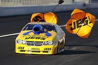 Nov 9, 2013; Pomona, CA, USA; NHRA pro stock driver Jeg Coughlin Jr during qualifying for the Auto Club Finals at Auto Club Raceway at Pomona. Mandatory Credit: Mark J. Rebilas-