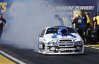 Feb. 22, 2013; Chandler, AZ, USA; NHRA pro stock driver Allen Johnson during qualifying for the Arizona Nationals at Firebird International Raceway. Mandatory Credit: Mark J. Rebilas-