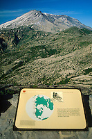 Intepretive Sign and Mt. St. Helens from Coldwater Ridge, Mt. St. Helens National Volcanic Monument, Washington, US