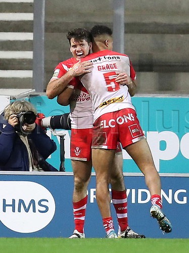 20th November 2020; Totally Wicked Stadium, Saint Helens, Merseyside, England; BetFred Super League Playoff Rugby, Saint Helens Saints v Catalan Dragons; Lachlan Coote of St Helens celebrates his 51st minute try to extend his team's lead to 24-2