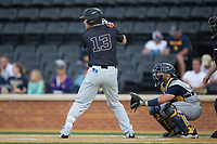 Keegan Maronpot (13) of the Wake Forest Demon Deacons at bat against the West Virginia Mountaineers in Game Six of the Winston-Salem Regional in the 2017 College World Series at David F. Couch Ballpark on June 4, 2017 in Winston-Salem, North Carolina.  The Demon Deacons defeated the Mountaineers 12-8.  (Brian Westerholt/Four Seam Images)