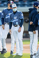 West Michigan Whitecaps third baseman Spencer Torkelson (8) is introduced before the game against the Great Lakes Loons at LMCU Ballpark on May 11, 2021 in Comstock Park, Michigan. The Loons defeated the Whitecaps in their home opener 9-1. (Andrew Woolley/Four Seam Images)