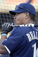 Ronnie Belliard of the Milwaukee Brewers before a 2002 MLB season game against the Los Angeles Dodgers at Dodger Stadium, in Los Angeles, California. (Larry Goren/Four Seam Images)