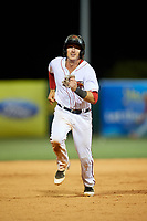 Florida Fire Frogs catcher Brett Cumberland (28) runs the bases during a game against the Palm Beach Cardinals on May 1, 2018 at Osceola County Stadium in Kissimmee, Florida.  Florida defeated Palm Beach 3-2.  (Mike Janes/Four Seam Images)