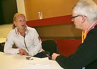 The Netherlands, Den Bosch, 16.04.2014. Fed Cup Netherlands-Japan, Press-conference Netherlands team,  Kiki Bertens being interviewed<br /> Photo:Tennisimages/Henk Koster
