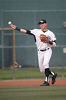 Ramsey Romano (3) of the Long Beach State Dirtbags in the field during a game against the TCU Horned Toads at Blair Field on March 14, 2017 in Long Beach, California. Long Beach defeated TCU, 7-0. (Larry Goren/Four Seam Images)