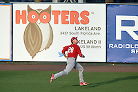 Palm Beach Cardinals outfielder Rowan Wick (28) tracks a fly ball during a game against the Lakeland Flying Tigers on April 13, 2015 at Joker Marchant Stadium in Lakeland, Florida.  Palm Beach defeated Lakeland 4-0.  (Mike Janes/Four Seam Images)