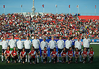 USA women's national team bench during the national anthem. The US Women's National Team defeated the Canadian Women's National Team, 4-0, at BMO Field in Toronto during an international friendly soccer match on May 25, 2009.