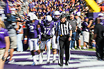TCU Horned Frogs safety Sam Carter (17) in action during the game between the OSU Cowboys and the TCU Horned Frogs at the Amon G. Carter Stadium in Fort Worth, Texas. TCU defeated OSU 42 to 9.